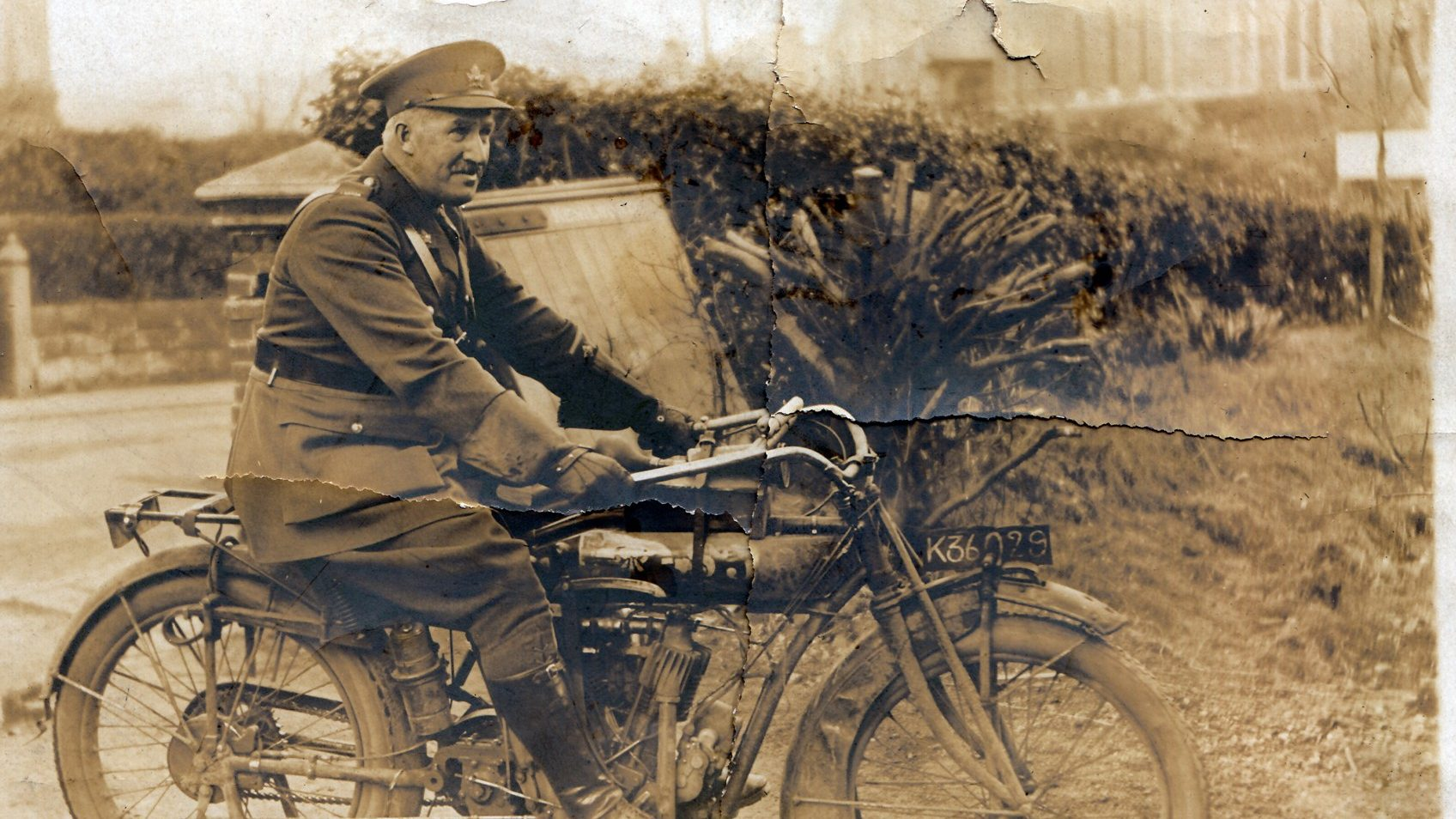 Captain James Sutherland riding his bike